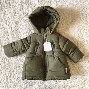 Zara baby girl olive green puffer jacket